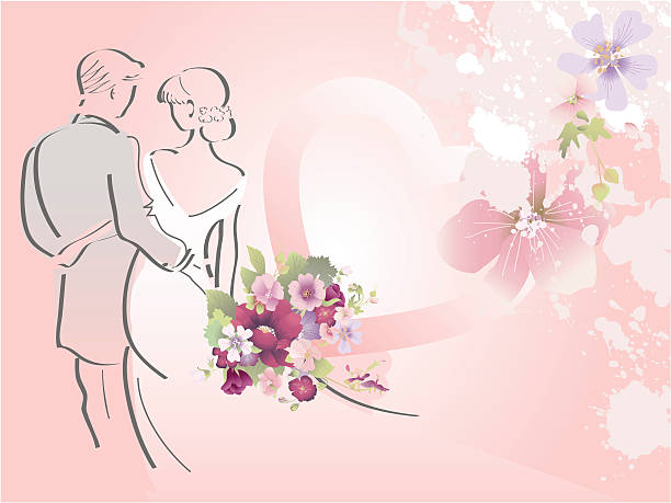 Married couple.  young couple stock illustrations