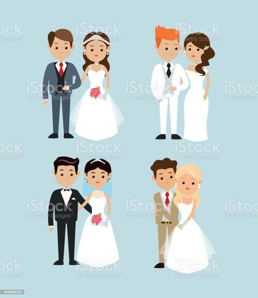 Design de casado. Ícone do casamento. Ilustração colorida, vector - ilustração de arte em vetor