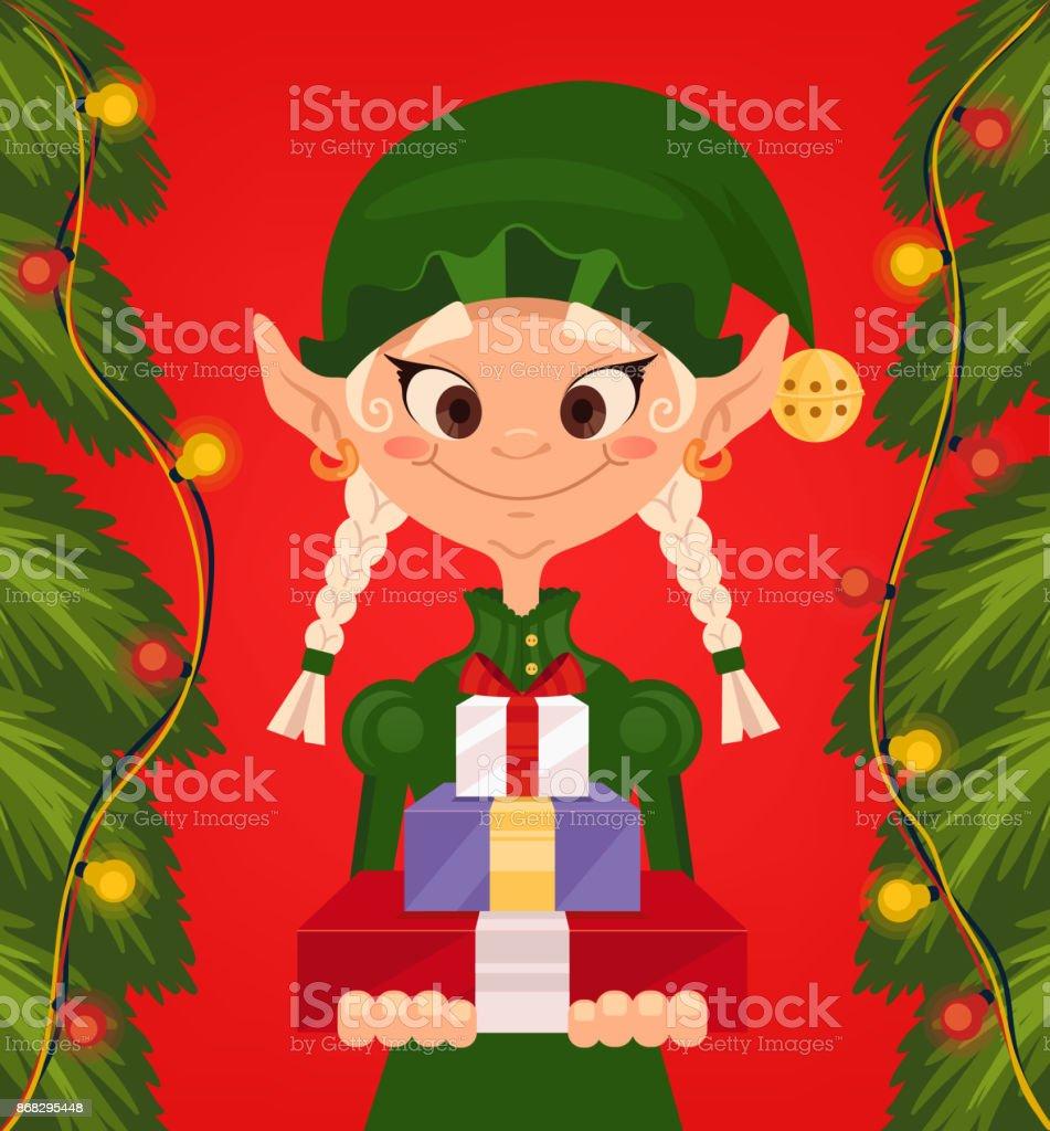 Weihnachten Und Glückliches Neues Jahr Glücklich Lächelnd Elf ...