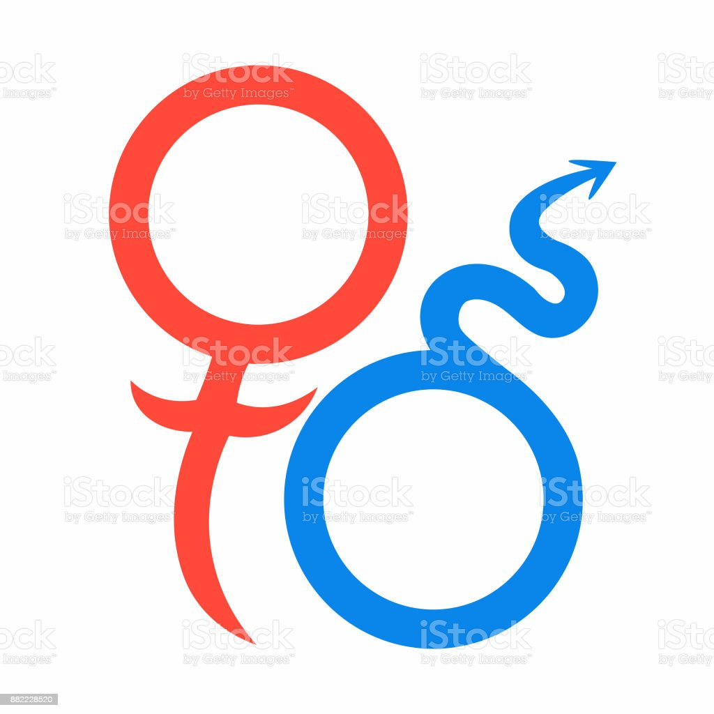 Mars And Venus Astrological Symbols Of Love Vector Illustration