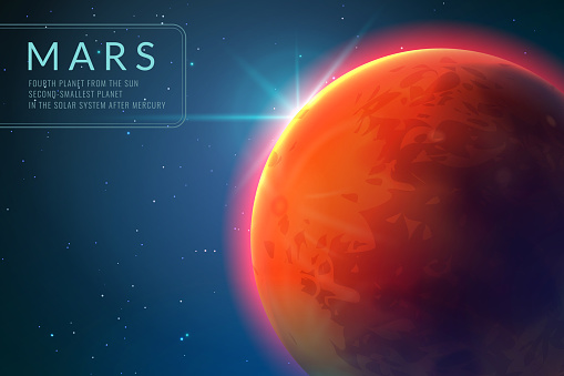 Mars background. Red planet with texture in outer space. Rising sun and mars landscape vector 3d concept