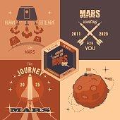 Mars colonization program flat design labels