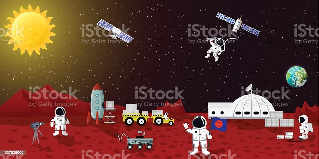 Mars colonization vector ilustration. Space planet austronaut station, spaceman characters - illustrazione arte vettoriale