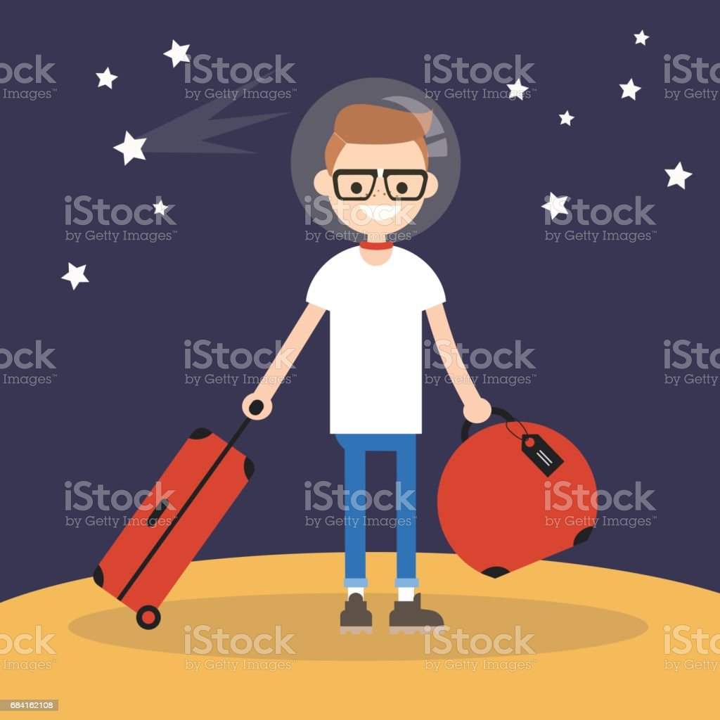 Mars Colonization: Young teenage character moving to mars with his luggage / flat editable vector illustration royalty-free mars colonization young teenage character moving to mars with his luggage flat editable vector illustration stock vector art & more images of astrology