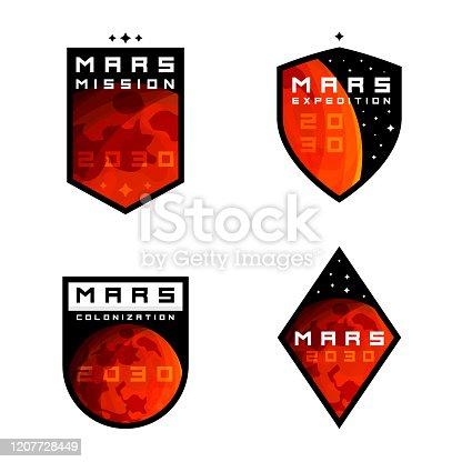 istock Mars colonziation / exploration badges, labels, signs, emblems, design elements 1207728449