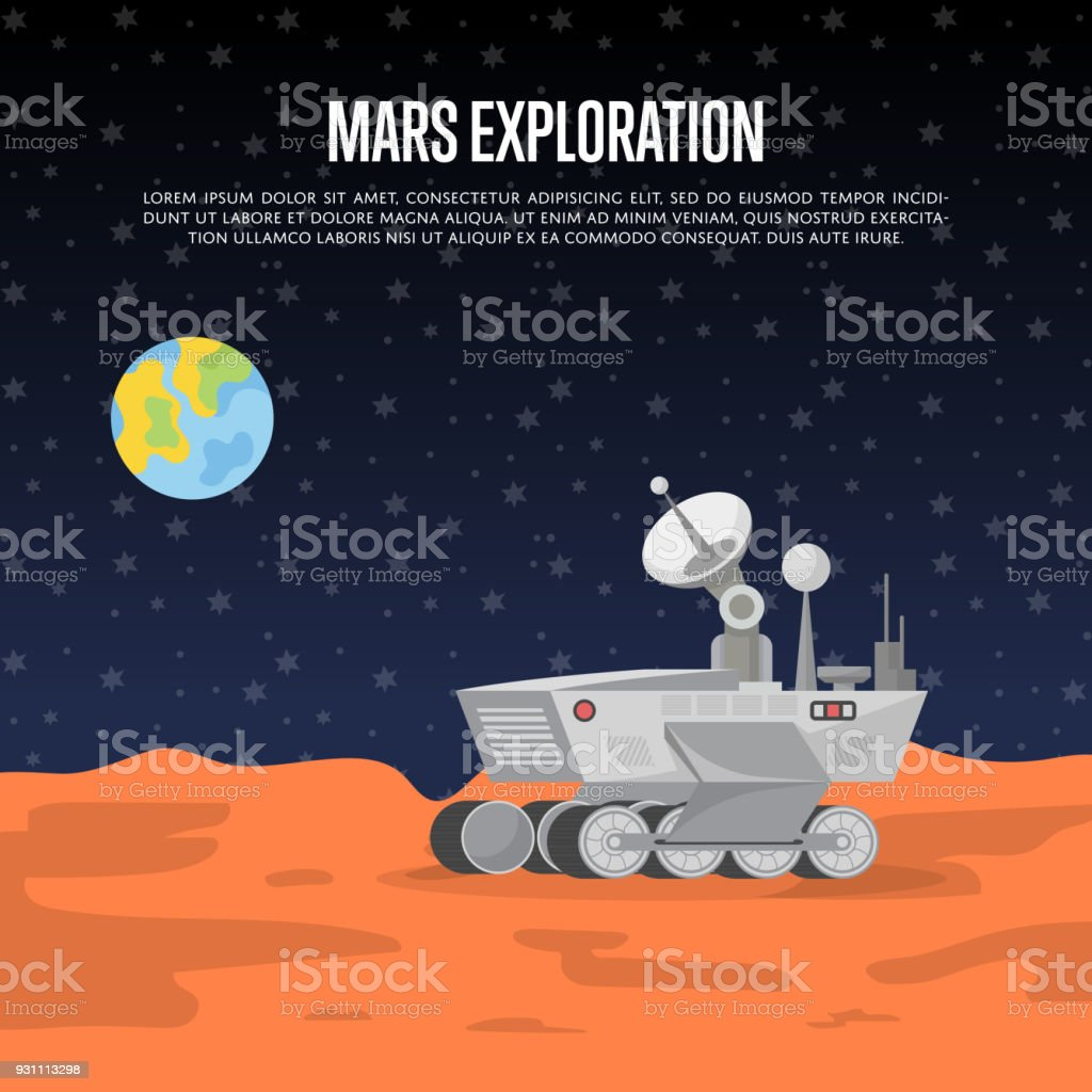 Mars exploration poster with research rover vector art illustration