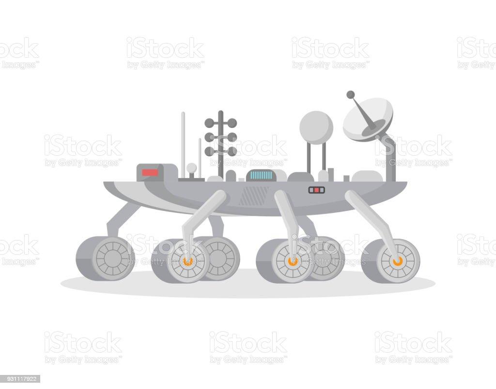 Mars exploration rover isolated vector icon vector art illustration