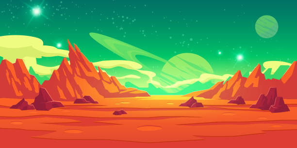 Mars landscape, alien planet, martian background Mars landscape, alien planet background, red desert surface with mountains, craters, saturn and stars shine on green sky. Martian extraterrestrial computer game backdrop, cartoon vector illustration planet space stock illustrations
