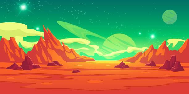 illustrations, cliparts, dessins animés et icônes de paysage martien, planète extraterrestre, fond martien - mars