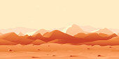 Martian day landscape background tileable horizontally, sand hills with stones on a deserted planet