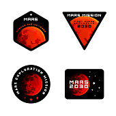 Mars mission emblems concept. Mars exploration logos in colored modern style.