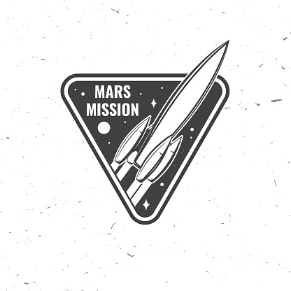 Mars mission logo, badge, patch. Vector. Concept for shirt, print, stamp, overlay or template. Vintage typography design with space rocket and mars silhouette.