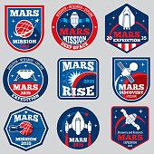 Mars mission vector space emblems. Astronaut travel badges