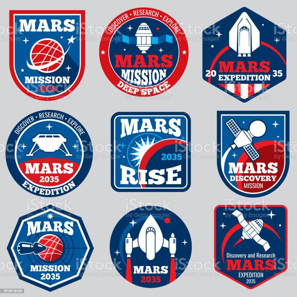 Mars Mission Vektorraum Embleme. Astronaut Reisen Abzeichen – Vektorgrafik