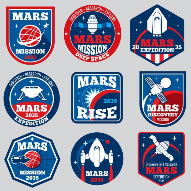 illustrations, cliparts, dessins animés et icônes de emblèmes de mars mission espace vectoriel. insignes de voyage astronaute - mars