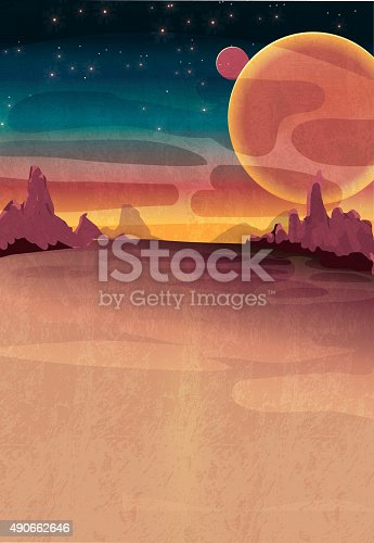 Vector illustration of a mars outerspace scene with lot's of copyspace. Planet, space, mars, red, dust, planet, stars, sky, martian, alien, copy space, printable, flyer. Rocks, outdoor, discovery, space exploration, colorful, background