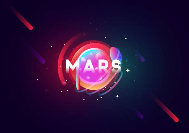 mars planet hell abstrakte darstellung. - weltall stock-grafiken, -clipart, -cartoons und -symbole