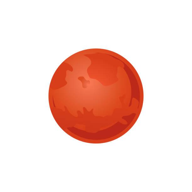 illustrations, cliparts, dessins animés et icônes de planète mars rouge du système solaire en style plat isolé sur fond blanc. - mars