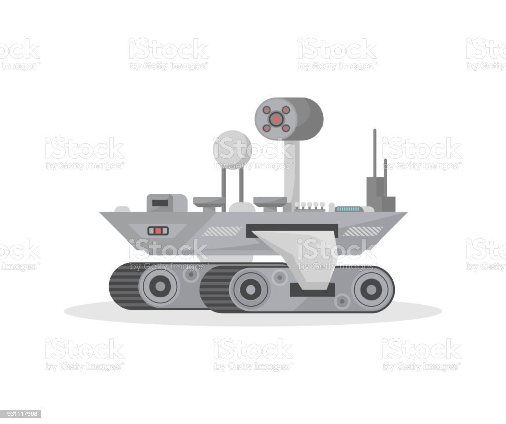 Mars research rover isolated vector icon vector art illustration
