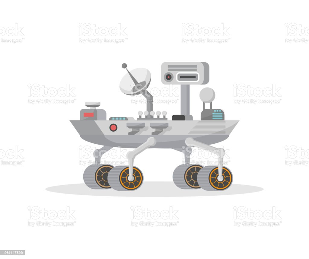Mars rover with camera and antenna icon vector art illustration
