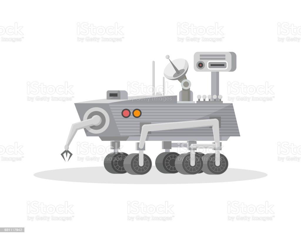 Mars rover with hand manipulator icon vector art illustration