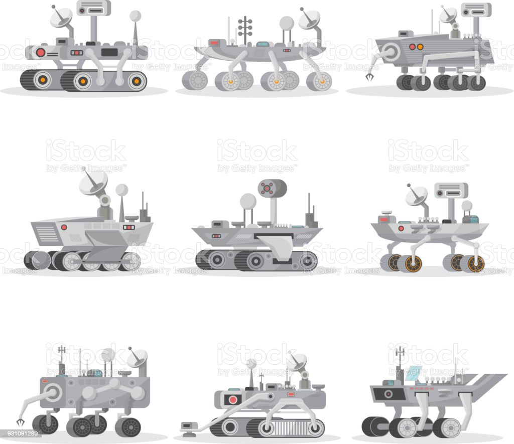 Mars rovers isolated icons set vector art illustration