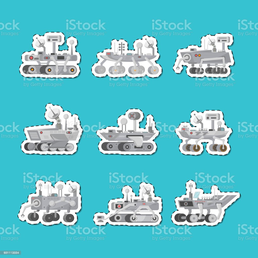 Mars rovers isolated labels set vector art illustration