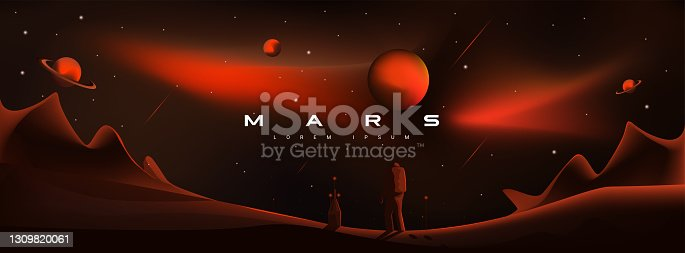 istock Mars vector illustration. Martian landscape, astronaut landing on the planet. Planets Saturn and Jupiter, planetary exploration, colonization, red aggressive, militant planet Mars. 1309820061