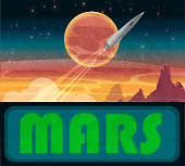 Mars with spaceship rocket taking off