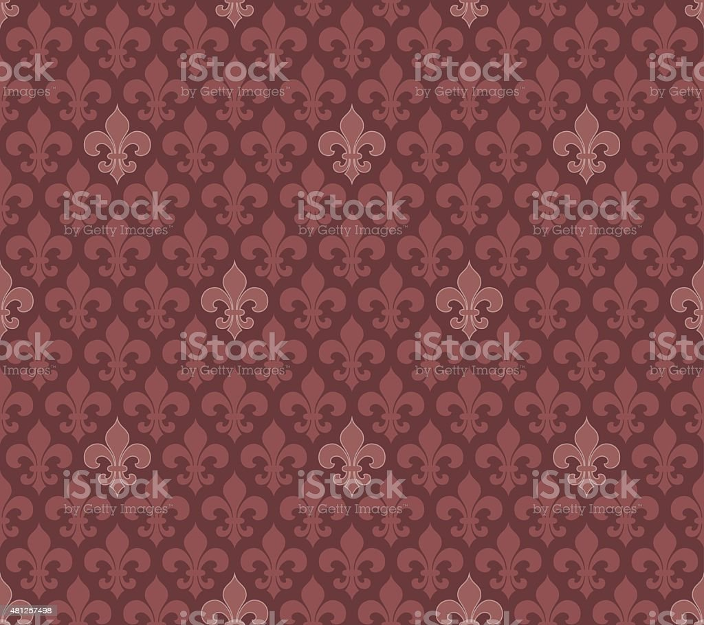 Marsala color Fleur De Lis seamless wallpaper vector art illustration