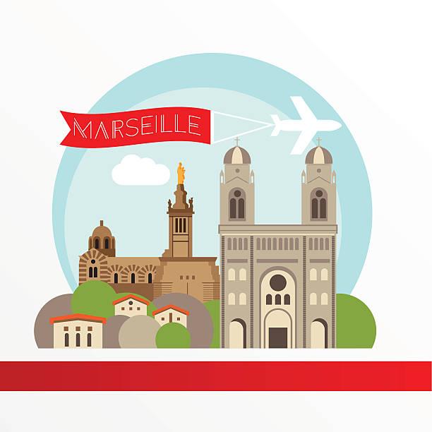 stockillustraties, clipart, cartoons en iconen met marseille detailed silhouette. stylish colorful landmarks. - marseille