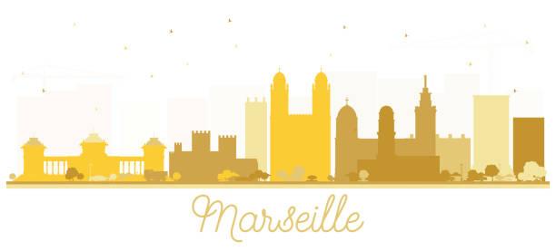 stockillustraties, clipart, cartoons en iconen met marseille frankrijk stad skyline silhouet met gouden gebouwen. - marseille