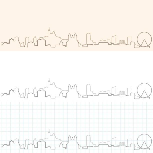 stockillustraties, clipart, cartoons en iconen met marseille hand getekende skyline - marseille