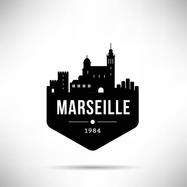 stockillustraties, clipart, cartoons en iconen met marseille moderne skyline vector sjabloon - marseille