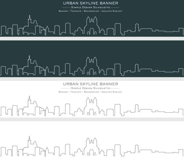 stockillustraties, clipart, cartoons en iconen met marseille single line skyline banner - marseille