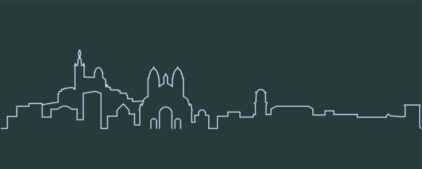stockillustraties, clipart, cartoons en iconen met marseille enkellijns skyline - marseille
