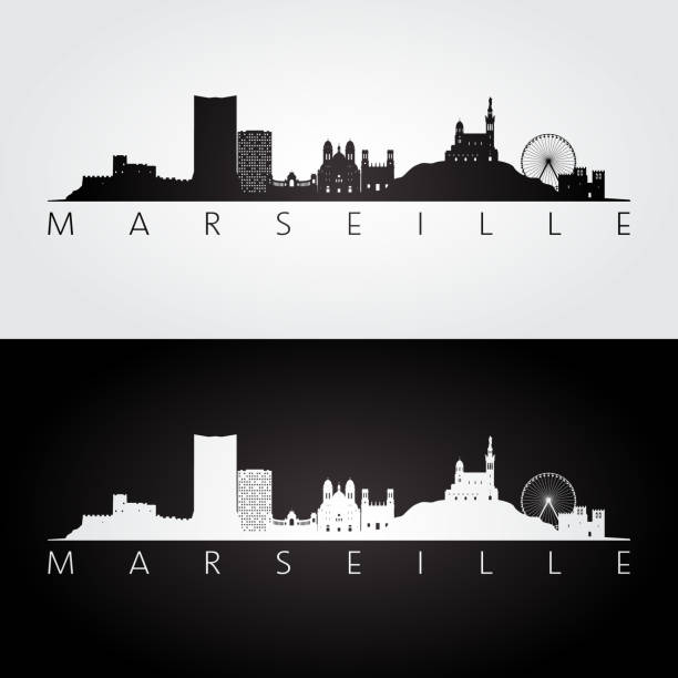 stockillustraties, clipart, cartoons en iconen met marseille skyline en bezienswaardigheden silhouet, zwart / wit ontwerp, vectorillustratie. - marseille