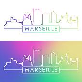Marseille skyline. Colorful linear style. Editable vector file.