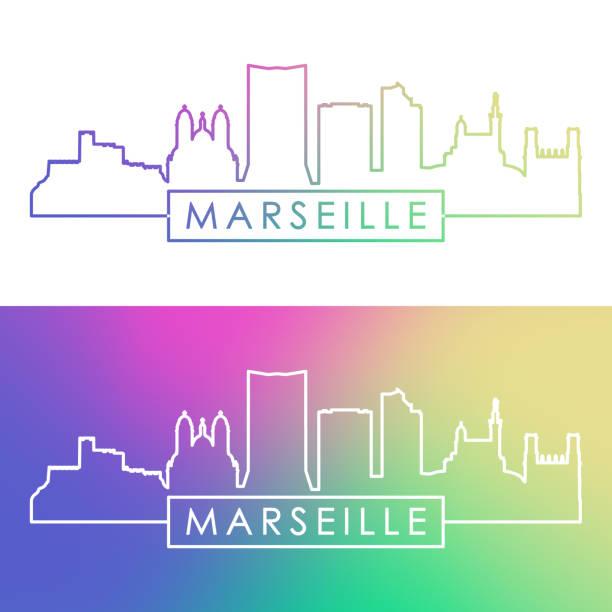 stockillustraties, clipart, cartoons en iconen met de skyline van marseille. kleurrijke lineaire stijl. bewerkbare vector bestand. - marseille