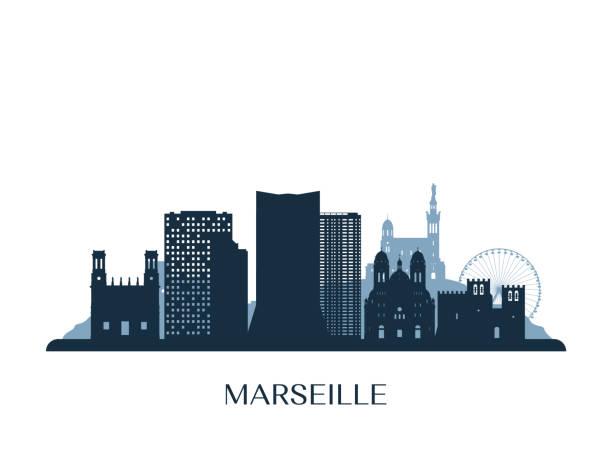 stockillustraties, clipart, cartoons en iconen met marseille skyline, monochroom silhouet. vector illustratie. - marseille