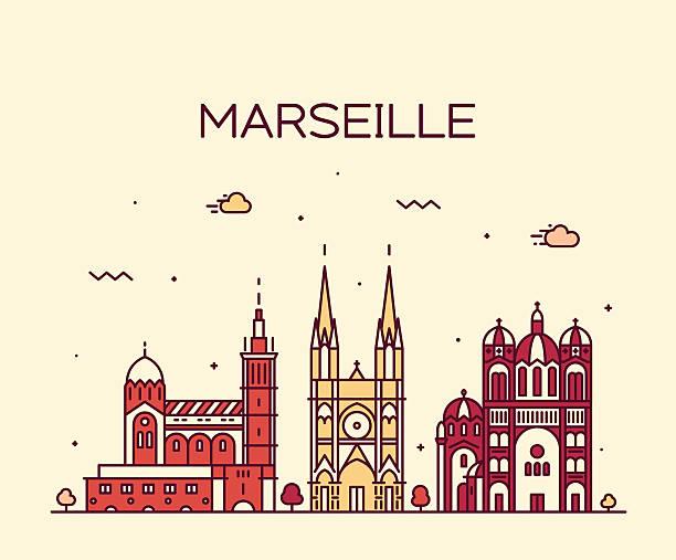 stockillustraties, clipart, cartoons en iconen met marseille skyline silhouette linear style vector - marseille