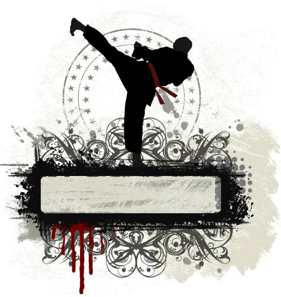 marshal arts banner - karate stock illustrations, clip art, cartoons, & icons