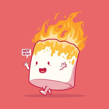 Marshmallow Character on fire vector illustration.