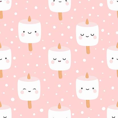 Marshmallow cute face character seamless pattern