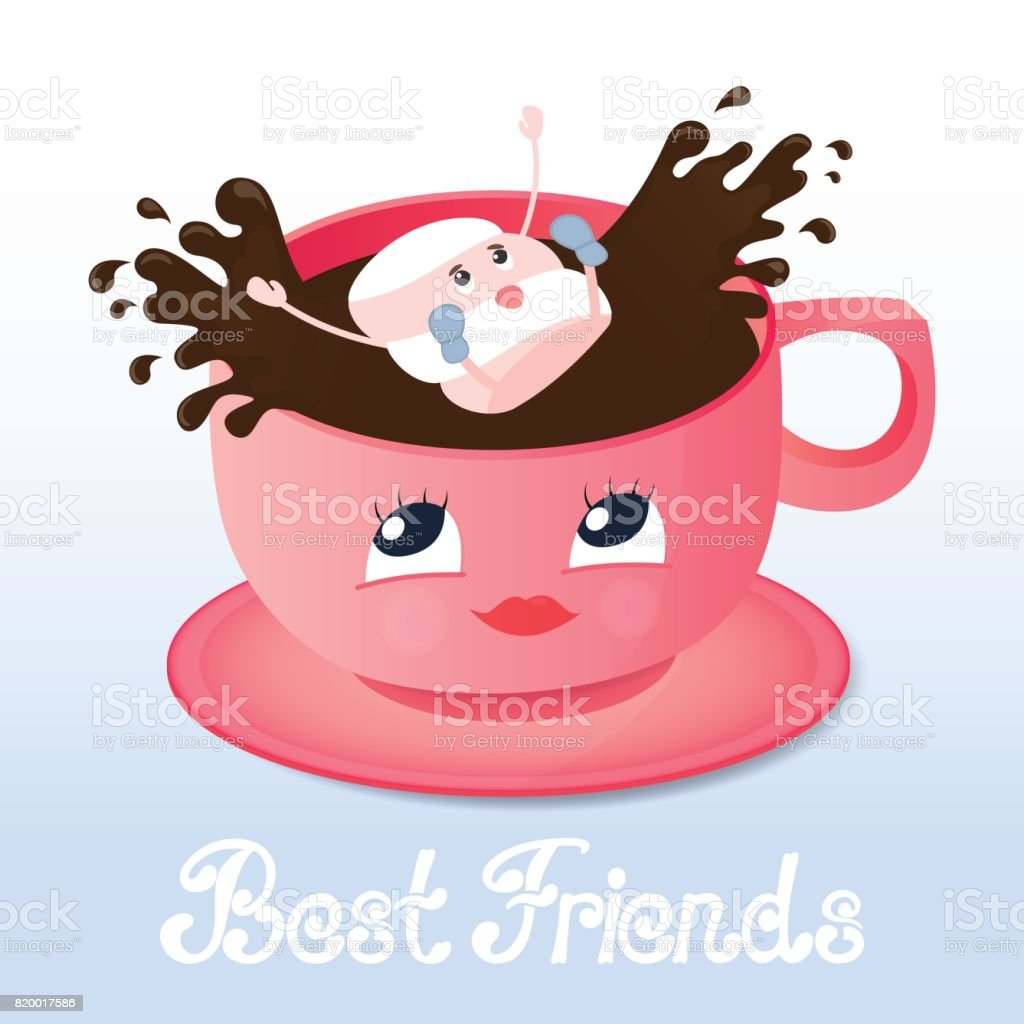 Marshmallow falls into a coffee. Friendship Day. vector art illustration
