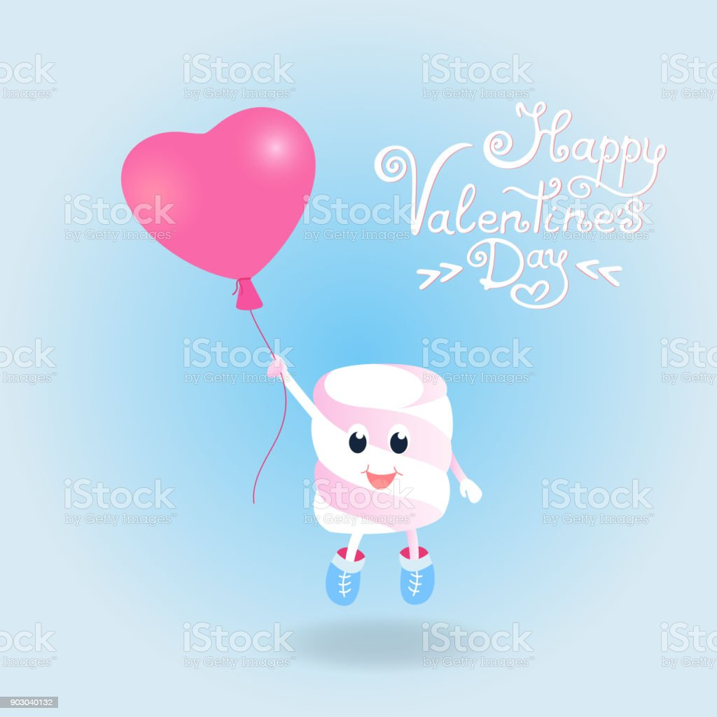 Marshmallow fly on a balloon in the form of a heart. Postcards for Valentine's Day. vector art illustration