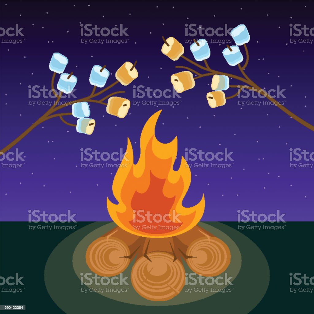 Marshmallow on skewers cooked on bonfire at night vector illustration vector art illustration