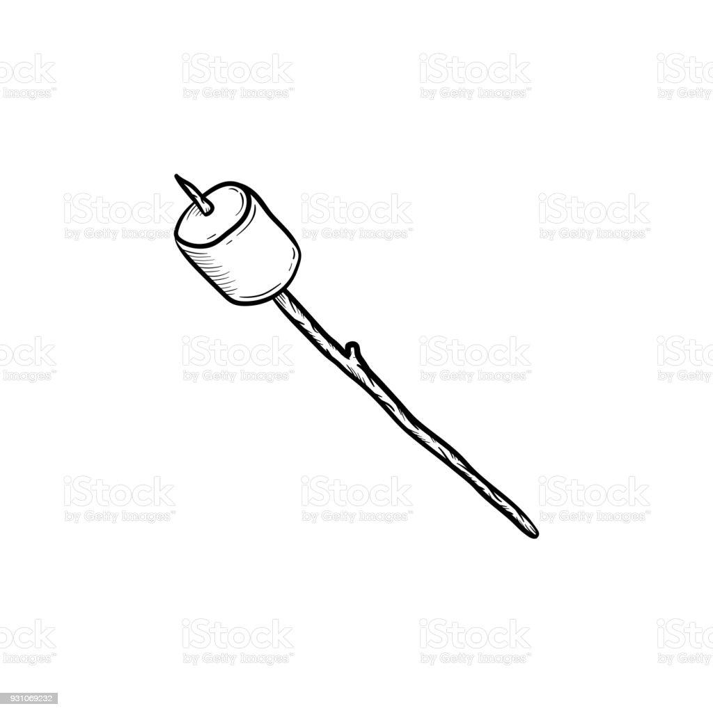 Marshmallow on stick hand drawn sketch icon vector art illustration