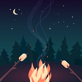 Marshmallow roasting hand drawn flat color vector icon. Marshmallows on skewers in night camping fire cartoon design. Campsite bonfire summer party sign. Wood campfire poster background illustration