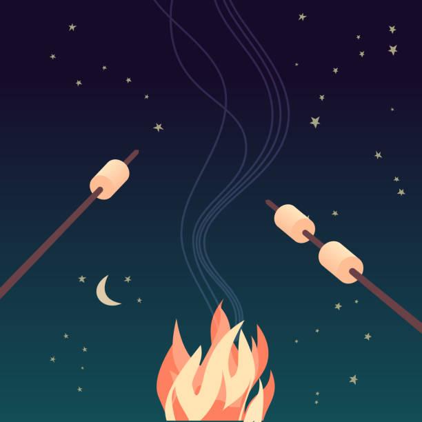 illustrazioni stock, clip art, cartoni animati e icone di tendenza di marshmallow roasting hand drawn flat color vector - falò